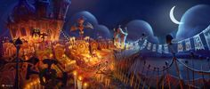 The Book of Life Conept Art Illustration Cemetery at Night Book Of Life Movie, Life Trailer, Mexican Heritage, Color Script, Concept Art World, Environment Concept, Visual Development, Art Blog, The Book