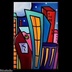 Lifestyle - Original Large Abstract Modern POP Art City Painting by Fidostudio