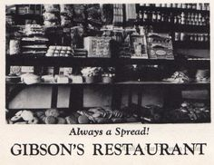 ID#0437 Date: 1941.The advertisement is an interior photo of the business's large stock of food items. The Gibson Brothers opened this new store on December 12, 1905 and it has been in the family since then. In 1910 the Gibsons showed Oberlin's first silent films on the second floor. College students played music during the movie and in intermission. Today the family operates a grocery, bakery and confectionary from this building. Source: HI-O-HI, the Oberlin College yearbook.