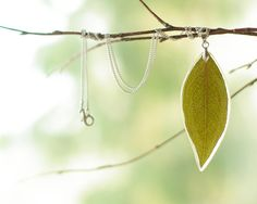Green real leaf pendant - handmade nature jewelry - should try this with a flower