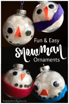 Adorable Snowman Ornaments made with Clear Plastic Christmas Balls - This cute Christmas craft is easy enough for toddlers to make, but appeals to kids of all ages.  Hang them on your tree, nestle them into a cedar garland, or give these homemade ornaments as a gift.