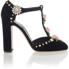 Dolce & Gabbana Embroidered Velvet Pumps ($1,275) ❤ liked on Polyvore featuring shoes, pumps, heels, multi, t-bar shoes, t-strap shoes, velvet shoes, t-strap pumps and t bar pumps