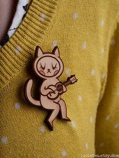 Ukulele Cat Wood Illustration Brooch by Lucie Tea by LucieTea
