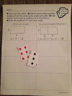 Math Coach's Corner: Demystifying the Distributive Property. Here's a little game that students can play to practice representing arrays and connecting them to equations. Extend by using three + cards - one digit by two digit, etc Math Strategies, Math Resources, Math Activities, Math Games, Fractions, Math Multiplication, Maths Algebra, Distributive Property Of Multiplication, Math Properties