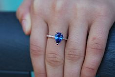 Blue sapphire pear engagement ring. Sapphire Engagement Ring. Something blue. Absolutely gorgeous ring features amazing 3.2ct Royal Blue sapphire. This sapphire is eye clean and very sparkling. The sapphire natural from Earth, mined in Ceylon, unheated. The sapphire is set into elegant diamond s
