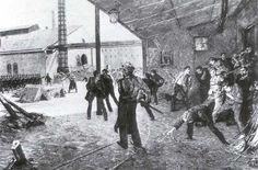 Streik der Hammerschmiede, 1894. Holzstich nach einem verschollenen Gemälde von Theodor Esser, in: Zur Guten Stunde, 7. Jg., Heft 12, 1894, S. 364 f.