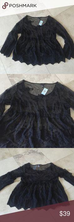 Torrid Lace/Sheer Baby Doll Top Torrid Lace/Sheer Baby Doll Style Top, Size 2/2X torrid Tops Blouses
