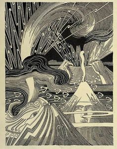 great graphic book illustration of volcanoes Te Tohunga – Wilhelm Dittmer 1907 Maori Designs, Nz Art, Hawaiian Art, Maori Art, Japanese Prints, Art Plastique, Landscape Art, Printmaking, Art Drawings