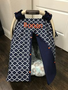 Excited to share this item from my #etsy shop: Baby Car Seat Cover - Navy Quatrefoil with Navy - All Cotton - Baby Boy - Canopy Cover