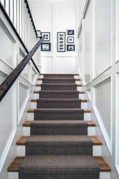 The Upstairs Downstairs Connection: Pick the Right Flooring for Stairs - treppe. Staircase Molding, Stairs Trim, Carpet Staircase, Staircase Runner, Stairs And Staircase, Staircase Makeover, Wooden Staircases, Wooden Stairs, House Stairs