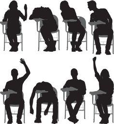 Vectores libres de derechos: Multiple images of students sitting on…