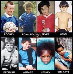 Ronaldo is super duper adorable with his curly hair♥ Rooney looks the same :) so does messi. David Beckham definitely looks younger Soccer Jokes, Funny Football Memes, Best Football Players, Soccer Players, Sports Basketball, Football Soccer, Neymar, Messi Pictures, Football Fever