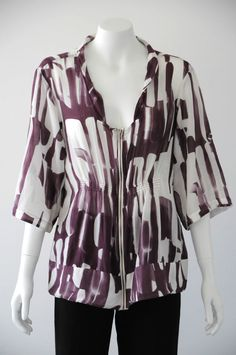 Veronika Maine  Women s Printed Square Neck Zip Up Blouse / Top {Size M / 12}