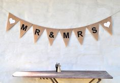 MR & MRS Hessian Burlap Wedding Celebration by collectingfeathers