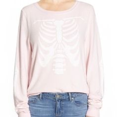 """NWT Wildfox Inside Out Sweatshirt! NWT Wildfox Inside Out Sweatshirt! Size: Medium. With a ribcage on the front panel and arm bones on the sleeves(so cool!), this long-sleeve sweatshirt will help you style for the Halloween season. - 24 1/2"""" length (size Medium) - 47% rayon, 47% polyester, 6% spandex - Machine wash cold, tumble dry low Additional Info per manufacturer: Oversized fit; for a closer fit order one size down. XS=2, S=4-6, M=8-10, L=12-14. NO TRADES, thanks! Wildfox Sweaters"""