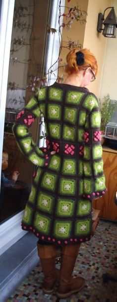 green crochet coat-back  IMGP1782  Green and pink granny square jacket Crochet