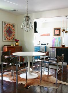 vintage chrome leather dining chairs tulip table vasarely pop art design manifest dining room