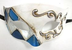 White Blue Paper Mache Pewter Diamond Masquerade Mardi Gras Mask Mens Men in Clothing, Shoes & Accessories, Costumes, Reenactment, Theater, Accessories | eBay