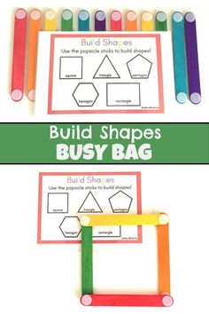 Popsicle Sticks Shapes - Building Shapes with Craft Sticks - Toddler Busy Bags - Montessori Activities for 2 years old - STEM Activity Montessori Activities, Stem Activities, Toddler Preschool, Toddler Activities, Preschool Activities, Stem Preschool, Montessori Toddler, Construction Toys For Toddlers, Toddler Busy Bags