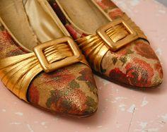 BIG MAMA OPTION $40 Vintage 1950s Shoes  50s Floral Heels  The Bea  by BohemianBisoux, $40.00
