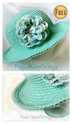 Chemo Sun Hat with Flower Free Crochet Pattern #freecrochetpatterns #hat