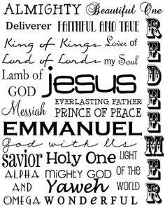 The names of God  thegirlcreative.com