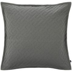 Tommy Hilfiger College Pique Cushion - Grey - 40x40cm featuring polyvore home home decor throw pillows grey gray accent pillows gray home decor grey accent pillows tommy hilfiger vintage throw pillows