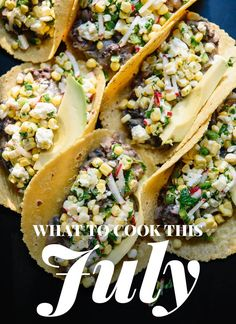 These hearty summer tacos feature lime-marinated fresh corn, jalapeño and radishes on top of warm black beans. Feta and avocado make these complete! Recipe yields 10 tacos (a lot! Mexican Food Recipes, Vegan Recipes, Dinner Recipes, Cooking Recipes, Corn Recipes, Fall Recipes, Delicious Recipes, Summer Vegetarian Recipes, Vegetarian Tacos