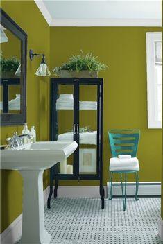 Look at the paint colour combination I created with Benjamin Moore. Via @benjamin_moore. Wall: Dark Celery 2146-10; Trim: Marilyn's Dress 2125-60; Chair: Teal Ocean 2049-30.