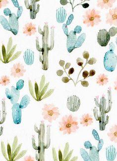 pattern | cacti watercolor by Sonia Cavellini                                                                                                                                                      Más