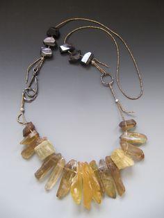 Amber, quartz, aquamarine, rainbow obsidian,antique French brass seed beads LuciaAntonelli.com