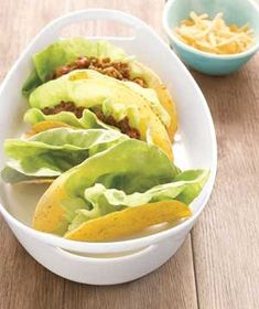 Lettuce Leaf as Taco Liner:  Instead of shredded lettuce on top, keep taco fillings contained, even if the shell breaks. Line an empty taco shell with a lettuce leaf, then pile on all the meat, cheese, and pico de gallo your heart desires. Also great for make ahead tacos like on a buffet or as an appetizer because it keeps the shell from getting soggy. Freaking genius!