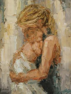 """""""whitney"""" mother and baby painting, impasto style painting, baby painting, children's art,"""