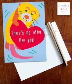 Valentines Day Printable Card // Otter Card by CynthiaKatzDesign #valentinesday #valentinescard