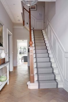 carpet runners for stairs Staircase Traditional with banister entrance hall hallway herringbone pattern stair - Carpets Mag White Staircase, Carpet Staircase, Staircase Runner, Staircase Design, Staircase Ideas, Hall Carpet, Stair Runners, Carpet Runners For Stairs, Banister Ideas