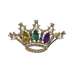 "Plated gold base pin. Purple, green & gold Marquise Crystals Diamond Baguette Crystals. Measures 2""L x 1"" W."