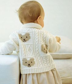 Cable and Teddy Bear Jacket Free Knitting Pattern