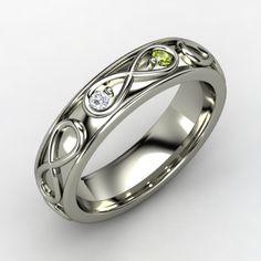 Gemvara's Infinite Love Ring With Diamond & Peridot in Platinum. Would love this with kids birthstones