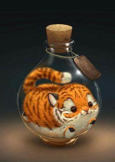 Little tiger in a bottle.