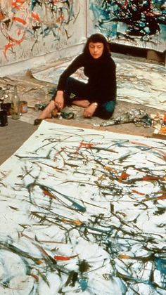 We love strong women! Joan Mitchell brought a much needed strong, female voice to the male dominated Abstract Expressionism movement. Here she poses with her work for Life Magazine in 1957.