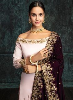 Light Pink Gharara Suit with Deep Plum Shawl