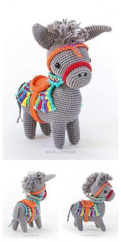 Poney Crochet, Crochet Pony, Knit Or Crochet, Crochet Crafts, Crochet Stitches, Crochet Projects, Free Crochet, Crochet Amigurumi Free Patterns, Crochet Animal Patterns