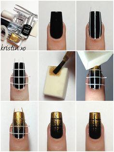 Elegant Nail Art: Black and Gold Nails - DIY - ♥ Nail Art Tutorials ♥ - [post_tags Black Gold Nails, Gold Nail Art, Sparkly Nails, Nail Art Diy, Easy Nail Art, Diy Nails, Prom Nails, Gold Art, Gold Glitter