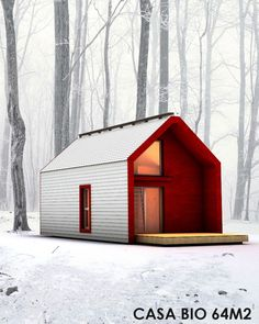 Family living in a small house of Modern Tiny House, Tiny House Cabin, Cabin Design, Tiny House Design, Weekend House, Prefab Homes, Tiny Homes, Little Houses, Mini Houses