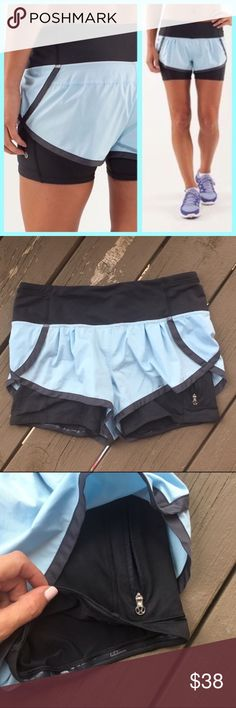 Lululemon Speed Squad Shorts In Baby Blue So comfortable and fashionable. The inside size tag has been removed but they are a size 4. Some pilling to the stitching on the butt (pictured above) but otherwise flawless condition. I'm only looking to sell at this time so sorry but no trades. My listing price is firm. lululemon athletica Shorts