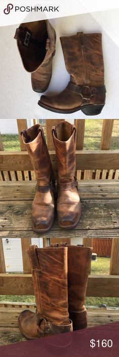 """Frye Harness Boots Frye Harness Boots - used with lots of life like most worn Frye Boots -wear on soles - See Photos - Unlined - Rubber outsole - Goodyear welt construction - Made in USA and sourced from domestic and imported products - 10 1/2""""shaft height - 13"""" shaft circumference - 1 3/4"""" heel height - Stacked leather heel Frye Shoes"""