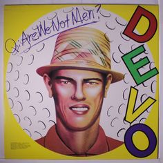 "DEVO ""Q: Are We Not Men? A: We Are Devo record LP (1978). NOTE: The same artwork was taken from Chi Chi Rodriguez's golf cub cover header card from the 1960's."