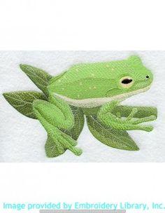 Stickmotiv Stickbild Aufnäher Stickerei Emblem Frosch  Frosch /  Stickerei Green Tree Frog (A1045)