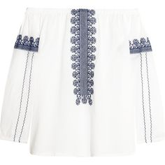 Madewell Madewell - Folktale Off-the-shoulder Embroidered... ($100) ❤ liked on Polyvore featuring tops, shirts, white, white off shoulder top, off shoulder tops, white shirts, madewell tops and off the shoulder shirts