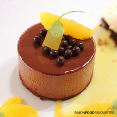 Valrhona chocolate delice, confit orange puree, almond praline, yuzu ice cream ($28) at est., CBD Sydney